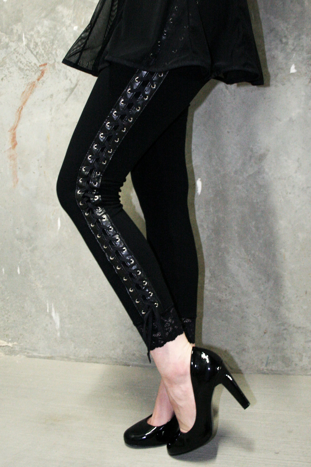 Lace-Up Leggings with Faux Leather Trim