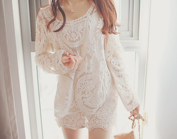 dress short dress lace dress long sleeve dress white dress