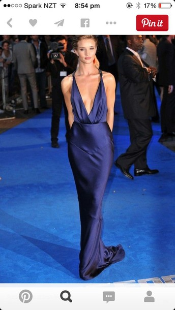 dress navy satin dress ball gown dress plunge neckline formal