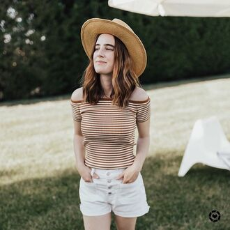top tumblr hat sun hat off the shoulder off the shoulder top denim denim shorts shorts white shorts