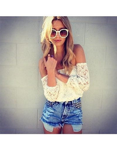 No shoulder lace top new long sleeve shirt floral sexy blouse