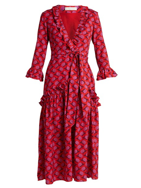 Borgo De Nor dress rose ruffle print red