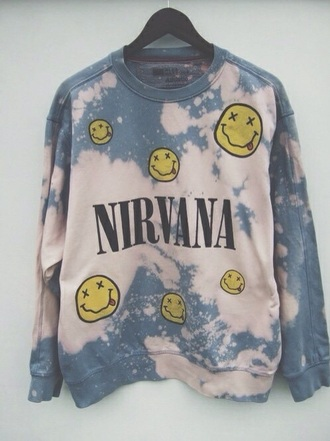 sweater music band nirvana acid wash