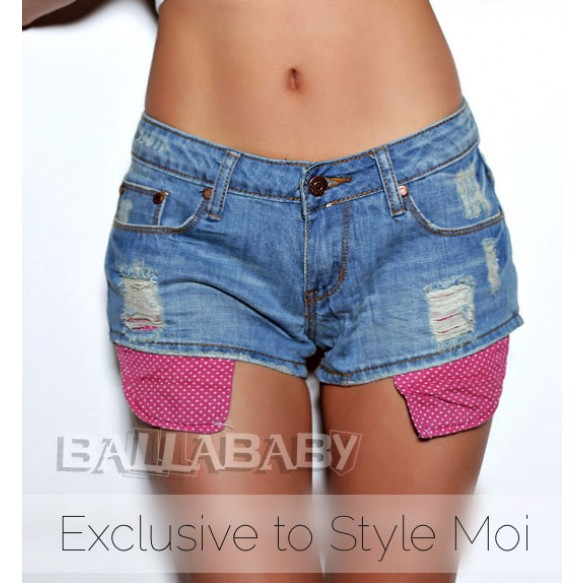 Denim Shorts With Exposed Pockets