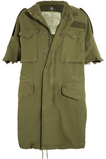 R13 - Oversized Distressed Cotton-canvas Jacket - Army green
