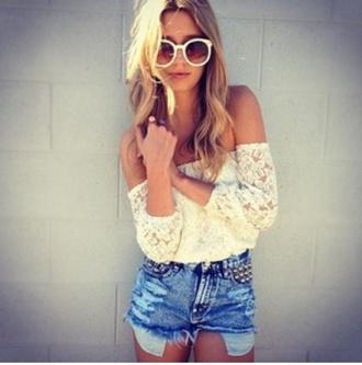 shirt lace offshoulder cream blouse top  offshoulder shorts blue shorts hippie