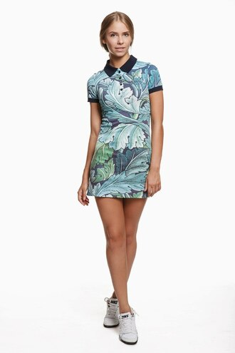 dress summer dress spring dress collared dress polo dress printed polo dress printed summer dress printed spring dress print floral floral print polo dress floral dress style hipster clothes clothingfashion fashion