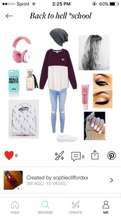 jeans,grey beanie,acid wash jeans,pink by victorias secret,beats by dr dre,vans,perfume