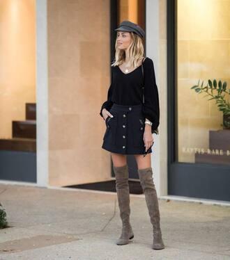 skirt blue skirt black sweater tumblr mini skirt button up button up skirt sweater boots grey boots over the knee