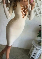 dress,vshape,bodycon dress,boobs,clevage,nude dress,nude,criss cross,criss cross dress
