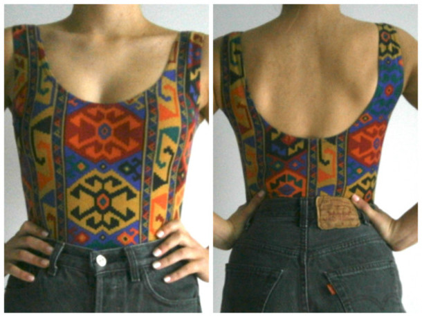 swimwear aztec print pattern red blue yellow low back backless swimwear bodysuit leotard black shorts High waisted shorts top festival spiked leather jacket