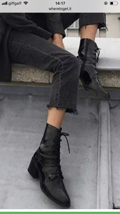 shoes,boots,lace up,leather,small heel,small heel boots