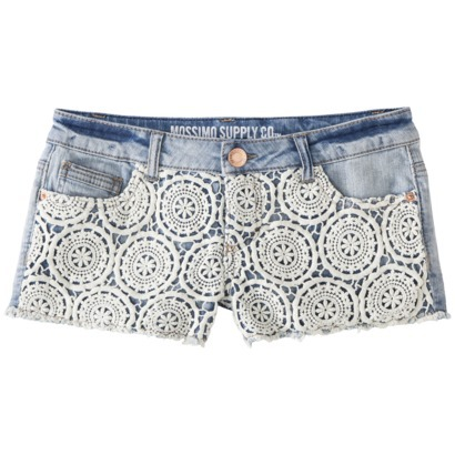 Mossimo Supply Co. Junior's Lace Front Denim Short : Target