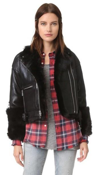 R13 Reversible Shearling Moto Jacket - Black