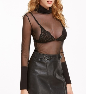 blouse girly girl girly wishlist black long sleeves mesh mesh top see through forever 21