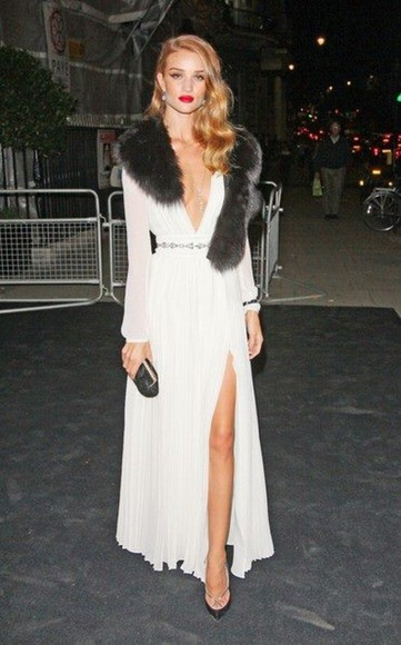 rosie huntington-whitley white dress scarf fur low v neck