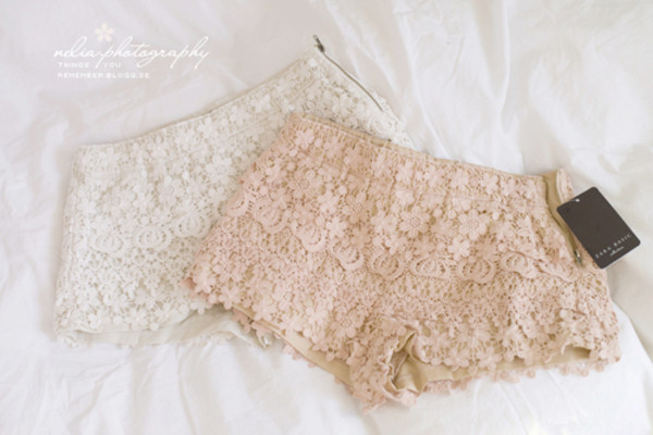 shorts white clothes crochet pink coral crochet shorts underwear wedges elegant oh wow lace pants