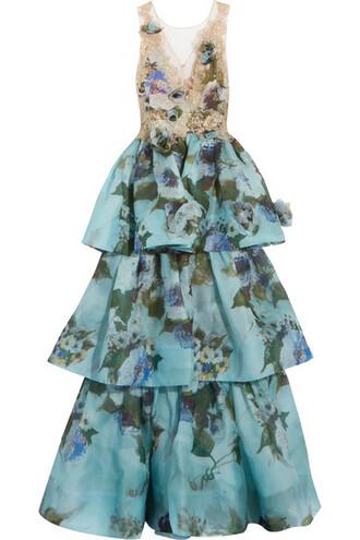 gown lace floral print blue silk dress