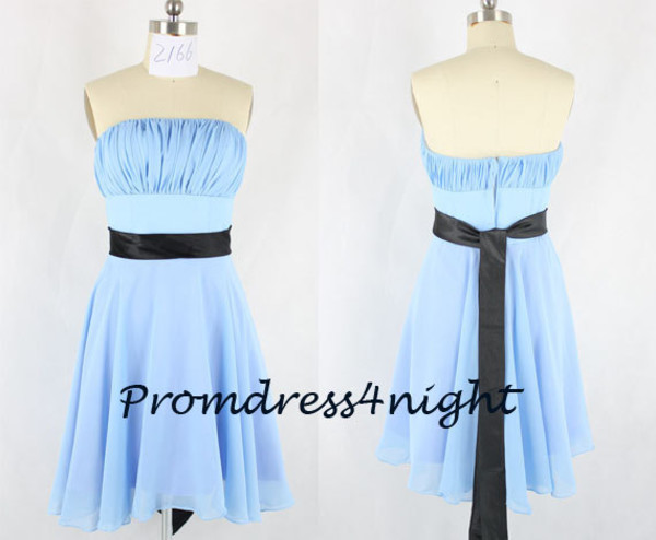 junior bridesmaid dress sky blue bridal party dress sky blue bridesmaid dress bridesmaid black sash dress dress for weddng knee length bridesmaid dress dress