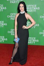 dress,gown,katy perry,slit dress,pumps,black dress