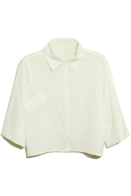Cropped Length Point Collar White Shirt | CozBest:lastest womens fashion clothing,shoes,dresses shop online