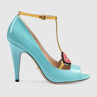 shoes gucci shoes leather want need high heel pumps blue heels