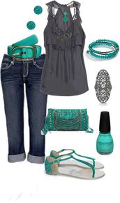 blouse,clothes,tank top,jeans,teal,turquios,purse,sandals,belt,shoes,bag