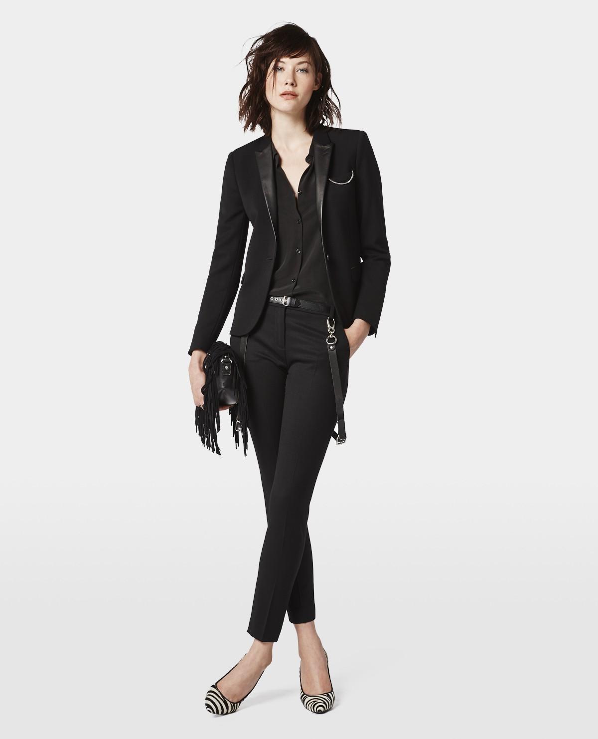 Veste blazer femme col cuir