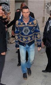 jacket,blue,sweater,gold,yellow,pattern