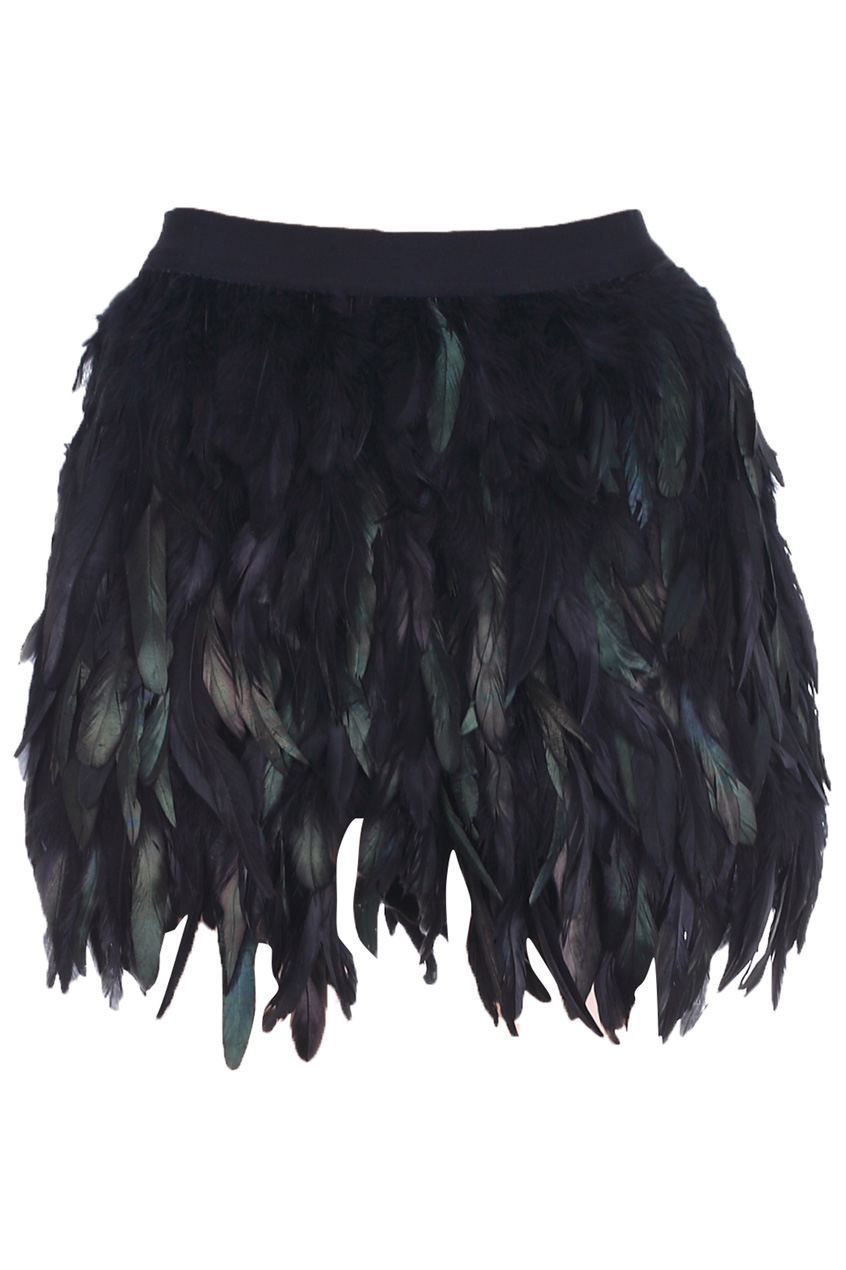 This feather mini skirt crafted in feather and polyester non-stretchable material please hand wash cold featuring feather design elastic waist in black regular fit mini skirt.