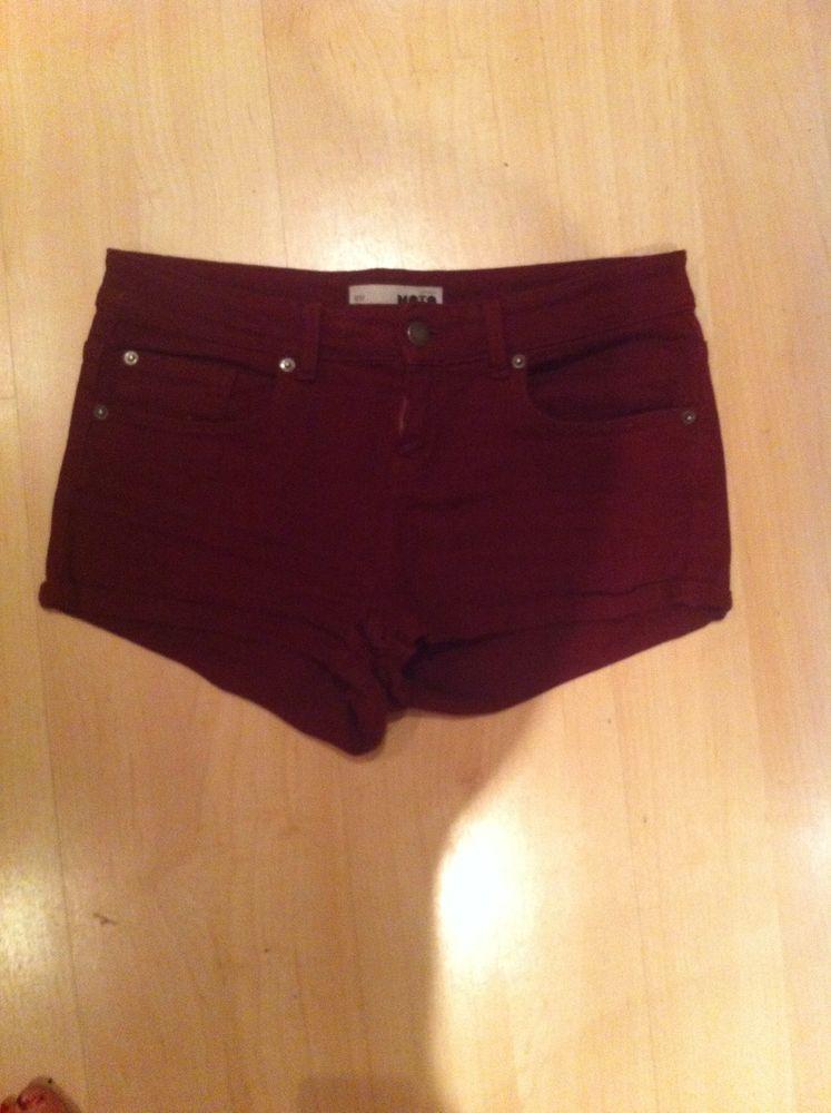 Burgandy Topshop Moto Shorts Size 12 | eBay