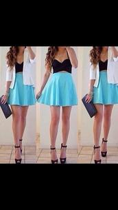 skirt,baby blue,skater skirt,top,jacket,straps,tight,bralette