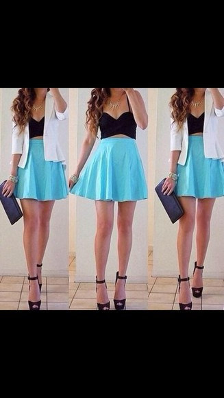 bralette top bralets straps tight skirt baby blue skater skirt