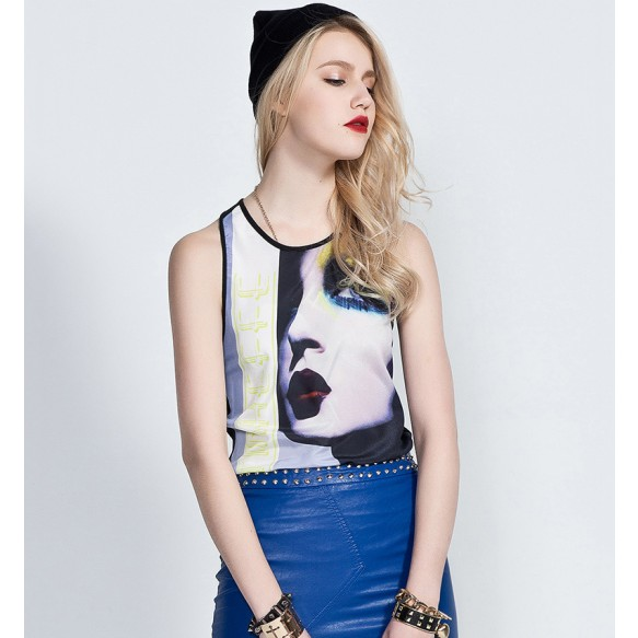 Portrait Print Tank Top at Style Moi