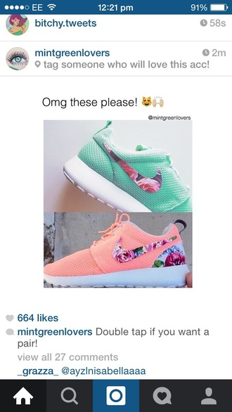 shoes cute floral nike shoes mint green shoes pink shoes
