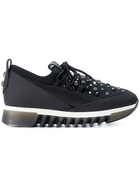 Alexander Smith - crystal detail ridged sole sneakers - women - Leather/Neoprene/rubber - 38, Black, Leather/Neoprene/rubber