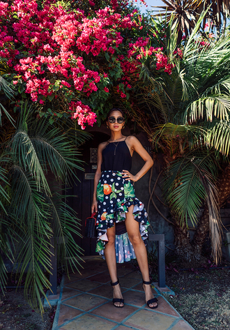 skirt sunglasses tumblr asymmetrical asymmetrical skirt floral floral skirt top black top sandals sandal heels high heel sandals shoes