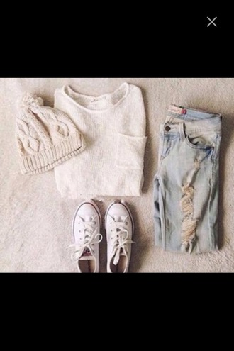 sweater converse pom pom beanie jeans denim ripped jeans boyfriend jeans white sweater pocket t-shirt oversized sweater outfit fall outfits