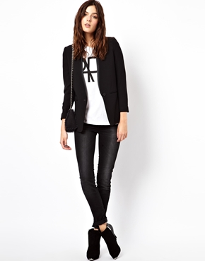 ASOS | ASOS Blazer with PU Lapel at ASOS
