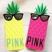 phone cover,victoria's secret,yellow pineapple phonecase,pink by victorias secret