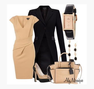dress cap sleeves wrapped waist v neck low v neck sandy brown knee length dress heels high heels stilettos peep toe peep toe pumps pumps jacket coat black trench coat bag purse watch earrings pleat clothes outfit