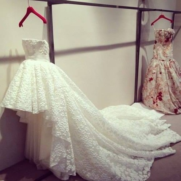 high-low dresses wedding dress lace dress dress white vintage long front short back prom dress homecoming white dress tutu prom floral beautiful ball gowns