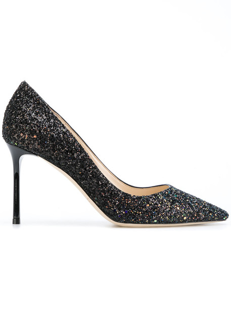 Jimmy Choo glitter women pumps leather black shoes