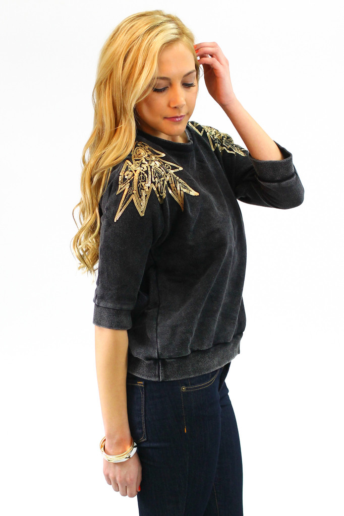 Sequin Shoulder Sweater - UOIONLINE.COM