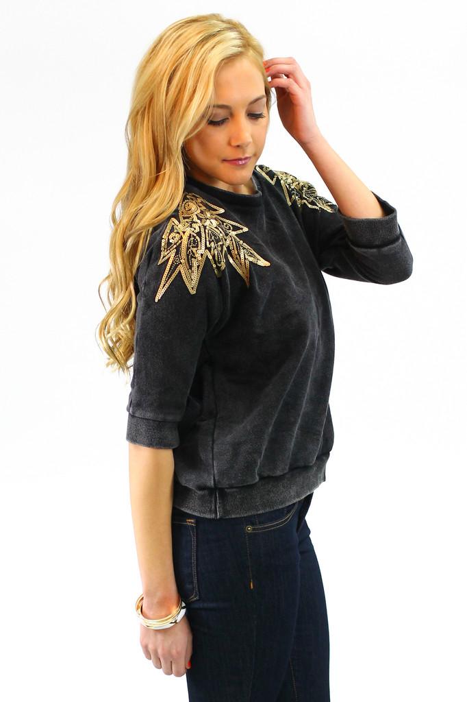 Sequin Shoulder Sweater - UOIONLINE.COM