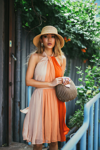 dress hat tumblr orange orange dress midi dress halter neck halter dress bag sun hat