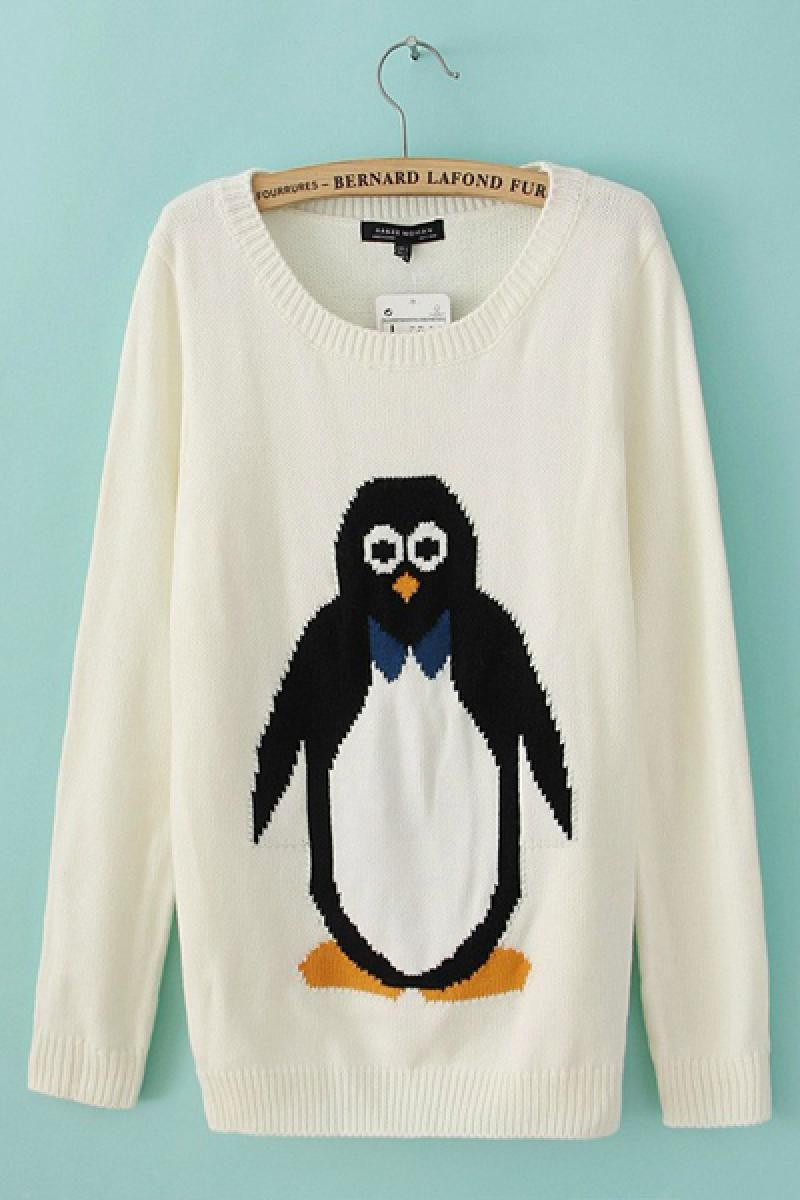 Penguin Printing Turtleneck Loose Knitwear,Cheap in Wendybox.com