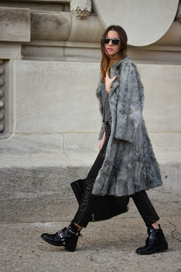 fashion vibe coat sunglasses pants t-shirt bag shoes