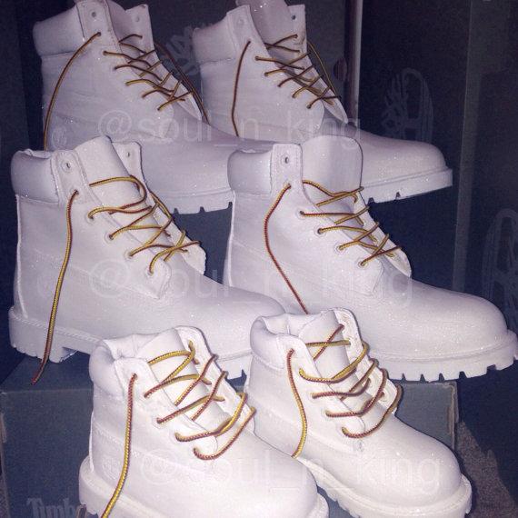 White diamonds custom made timberland boots glitter timbs
