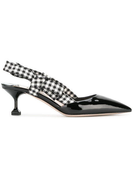 Miu Miu women pumps leather black gingham shoes